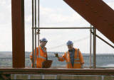 Workers on the Forth Rail Bridge