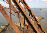 The Forth Bridge  -  about to be painted  - Looking down on the island of Inchgarvie in the Firth of Forth.
