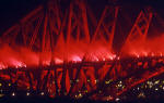 The Forth Rail Bridge, floodlit with fireworks  for the Centenary Celebrations in 1990