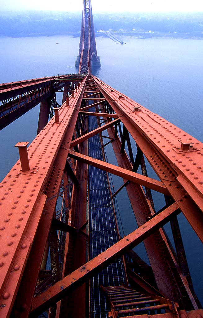 The Forth Rail Bridge  2  -  Lookiing Down fon the Bridge