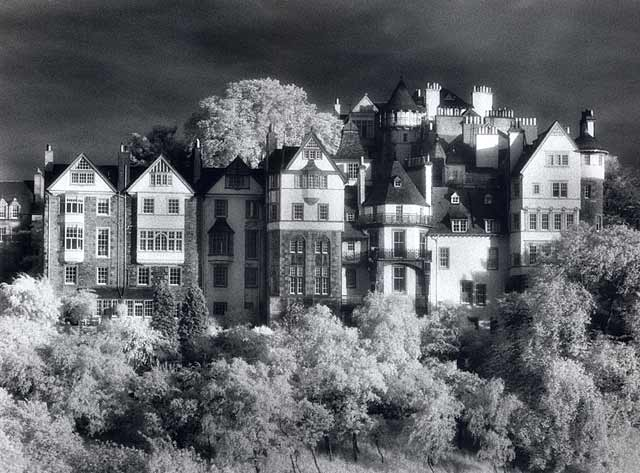 Infra-red photograph  -  Ramsay Garden  -  Photograph taken June 1996