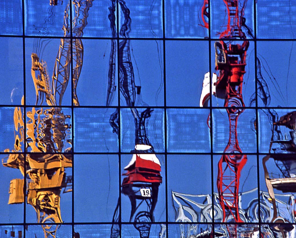 London Docklands  -  Reflections of 3 cranes