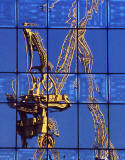 London Docklands  -  Reflections of 2 cranes