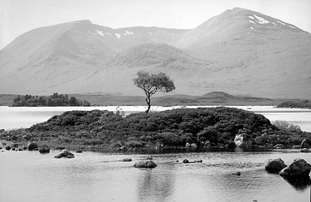 Rannoch moor in spring black and white photo