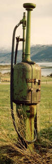 Zoom-in to an old petrol pump near Loch Alsh in the Scottish Highlands