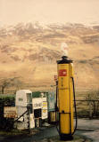 An old Shell petrol pump in the Scottish Highlands  -  still in use in the 1980s