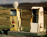 The pump at a faded Shell petrol station in the Scottish Highlands