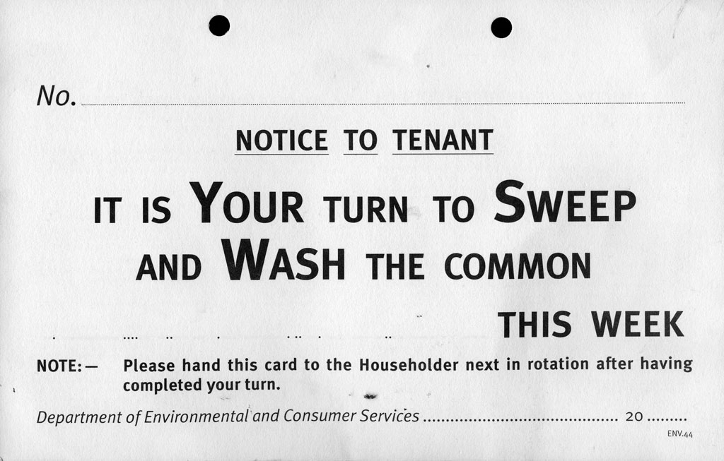 'It's Your Turn to Sweep and Wash the Common Stair' card  -  front of the card