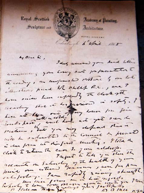Letter from D O Hill to P Allen Fraser  -  6 April 1868  -  Page 1