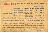 Price list on the back of a Jerome photographic wallet  -  Probably around 1930s