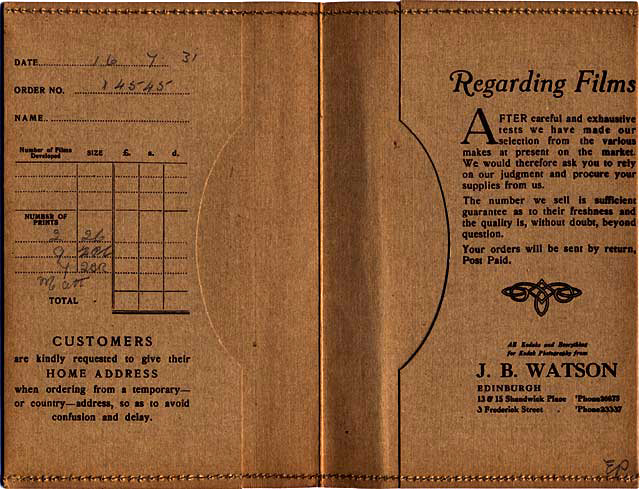 J B Watson  -  Developing and Printing wallet, 1929 to 1931  -  Inside