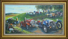 One of a series of paintings of Morgan Cars by 'The Leith Artist', Frank Forsgard Manclark  -  Title:  Up the Doune Hillclimb