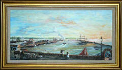 One of a series of paintings of harbours around Edinburgh by 'The Leith Artist', Frank Forsgard Manclark  -  Granton Harbour