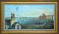 One of a series of paintings of harbours around Edinburgh by 'The Leith Artist', Frank Forsgard Manclark  -  Queensferry Harbour
