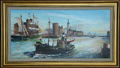 One of a series of paintings of harbours around Edinburgh by 'The Leith Artist', Frank Forsgard Manclark  -  Leith Harbour