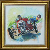 One of a series of paintings of Morgan Cars by 'The Leith Artist', Frank Forsgard Manclark  -  Title: One out of Three