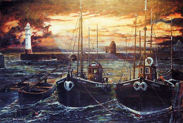 Painting by Frank Forsgard Manclark, 'The Leith Artist'   -   Newhaven Working Mates