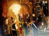 Painting by Frank Forsgard Manclark, 'The Leith Artist'   -   The Leith Chanter at Tolbooth Wynd