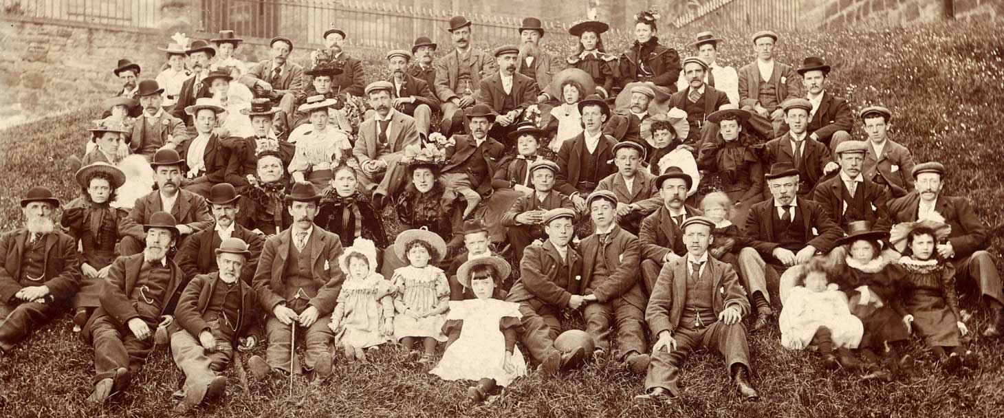 Zoom-in to a photograph of W Archibald Employees  -  Excursion to Linlithgow, 1897