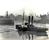 Alex Ayton Glass Plate  -  Leith  -  Paddle Steamer and Swing Bridge