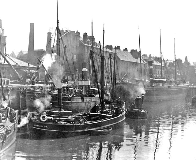 Alex Ayton Glass Plate  -  Leith  -  Ships at the Shore