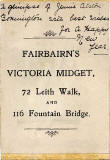 The back of one of Fairbairn's Victoria Midget photographs  -  No message on the front
