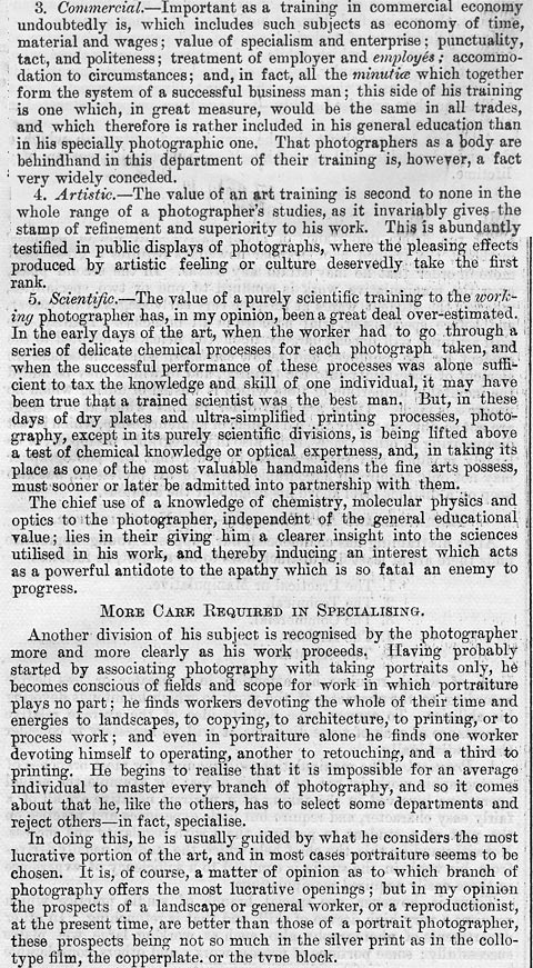 in Edinburgh, 1892 by E Howard Farmer  -  Deficiencies in the Training of Photographers  -  Page 3