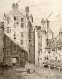 Etching of Chessels Court by Frank W Simon from his book 'Bits of Old Edinburgh