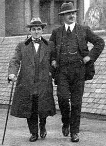 George R Mackay (the taller gentleman) and one other man on the roof of G R Mackay's studio