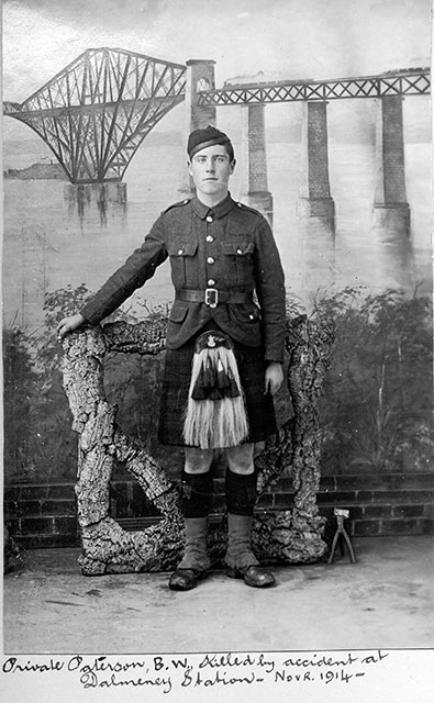 Photo of Private Paterson with a Forth Bridge Bckdrop  -  taken by Peter McGill in 1914