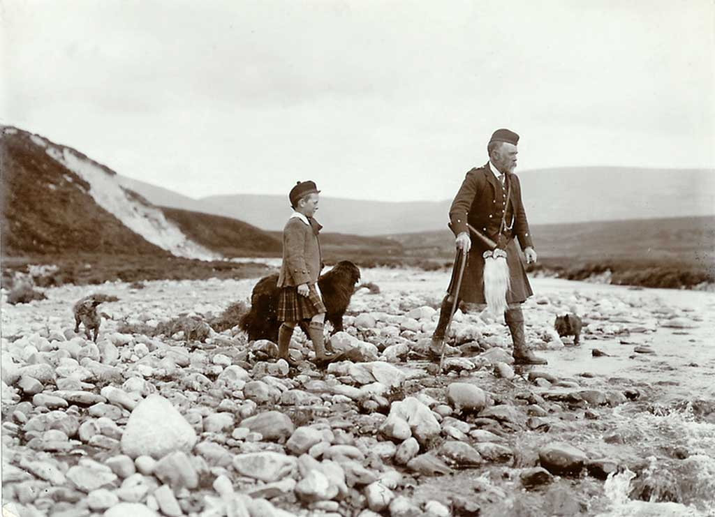 Photograph from the family of Horatio Ross  -  Hunting and Shooting in the Scottish Highlands  -  Two Dogs