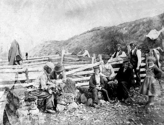 Photograph of a group at a Fence  -  possibly taken by Horatio Ross