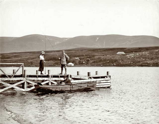 Photograph from the family of Horatio Ross  - Putting up the Rods in the Scottish Highlands