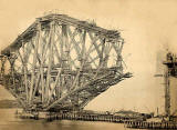 A photograph by A H Rushbrook of the Forth Rail Bridge under construction