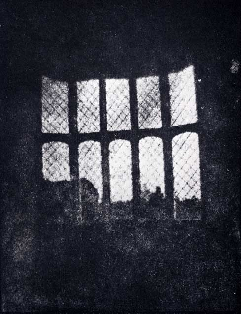Print made from the oldest negative in existence  -  The Latticed Window at Lacock Abbey, photographed by Talbot in 1835