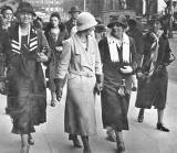 Walking Picture of Edinburgh  -  Ladies in Princes Street walking past Jenners' store  -  Photo probably taken by a street photographer in 1930s