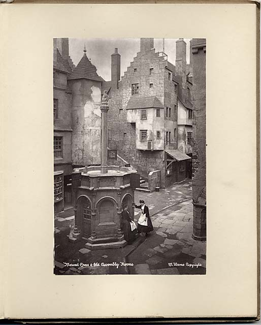 'Old Edinburgh' exhibit at the International Exhibition, Edinburgh, 1886   -  by Marshall Wane  -  Page 8  -  Mercat Cross and Old Assembly Rooms  -  with surround