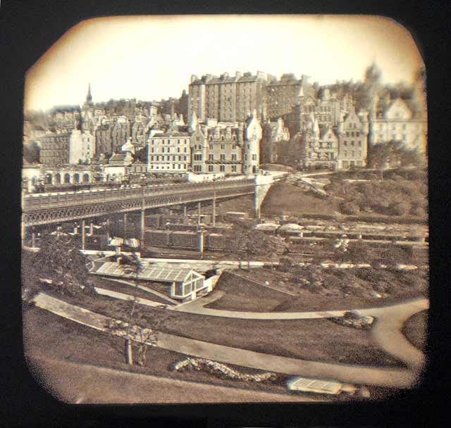 George Washington Wilson  -  Lantern Slide  -  Edinburgh Old Town and Waverley Bridge