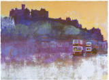 Print of Edinburgh, 'EdinburghCastle and Buses', by Colin Ruffell, Brighton, Sussex, England