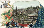 B & R Postcard  -  Edinburgh from the Castle  -  Looking towards the Scott Monument, National Galleries, Princes Street and Calton Hill