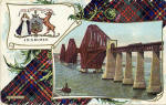 B & R Postcard  - The Forth Bridge, with Cameron tartan