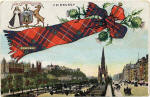 B & R Postcard  - Princes Street, looking west, with Fraser tartan