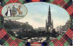 B & R Postcard  - Princes Street, looking west, with Stuart tartan