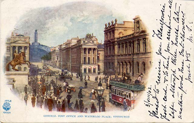 Postcard  -  Castle Series  -  General Post Office and Waterloo Place