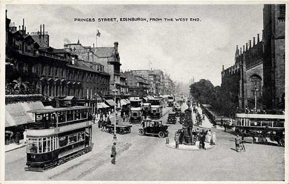 Princes Street  -  Heavy Traffic at the West End  -  a black and white photograph by E T W Dennis & Sons
