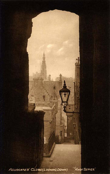 Advocates' Close,  off the Royal Mile, Edinburgh  -  looking down  -  Postcard  -  W J Hay  -  'Knox series'