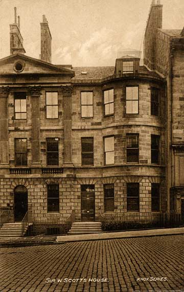 Sir Walter Scott's House in North Castle Street in Ediburgh's First New Town  -  A Postcard in the 'Knox Series' by W J Hay