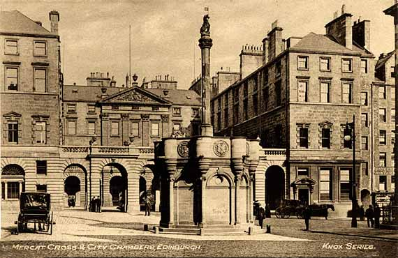 The Mercat Cross and City Chambers  -  Postcard in the 'Knox series' by W J Hay