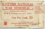 Postcard by Francis Caird Inglis  -  The Scottish National War Memorial, Edinburgh Castle  -   9 Postcard views for a shilling  -  The packaging