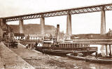 The Queensferry Passage:  The ferry boat, 'Woolwich' at  the Hawes Pier, beside the Forth Bridge  -  Postcard posted 1919